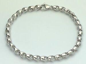 14K-White-Gold-Solid-Heavy-Handmade-Link-Chain-Bracelet-8-034-5-25mm-13-5-grams