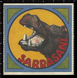 Old-German-Advertising-label-poster-stamp-Cinderella-SARRASANI-CIRCUS-Hippo-7