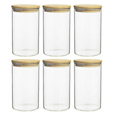 6pc Ecology Pantry Round Canisters Glass Food Containers/Storage w/ Bamboo Lid
