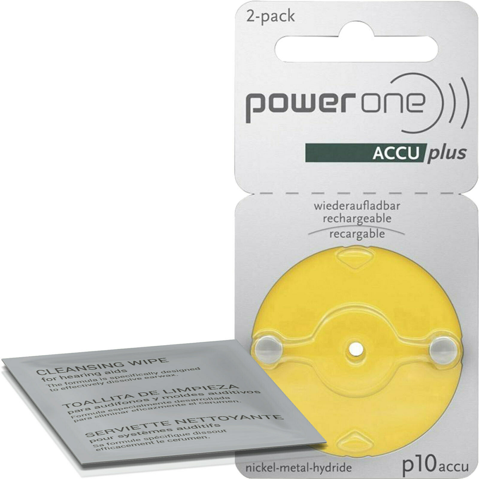 2x Varta PowerOne Battery 10 Yellow for hearing aids (1x 2er Bl.) + Cleaning Cloth