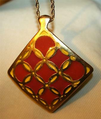 Unique Sculpted Yellow & Brick Red Looped Design Goldtone Rhombus Necklace