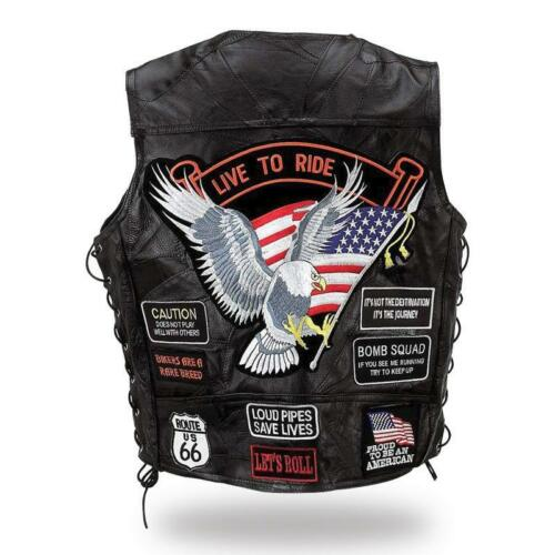 Bikers country grande taille Gilet Jacket en Cuir Aigle Live To Ride Route 66