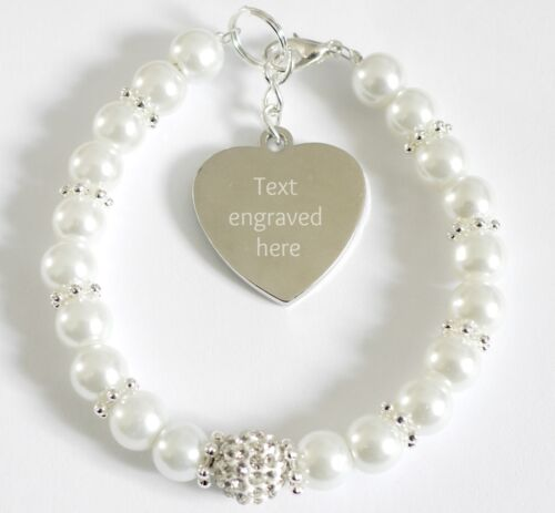 Bride Fiancee Bride to Be Wedding Bracelet Personalised Engraved Charm Gift