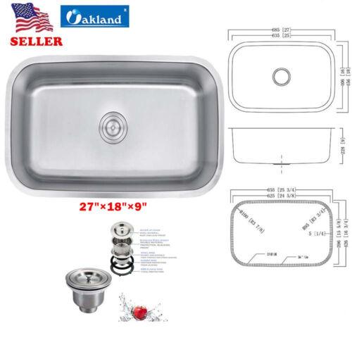 New Variety Size 304 Stainless Steel Undermount Single Bowl Kitchen Bar Sink