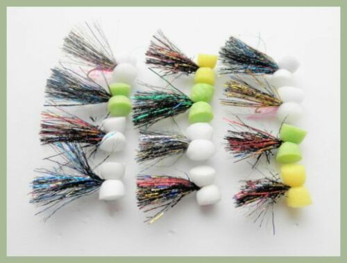couleurs mélangées taille 10//12 Booby Trout Fishing Flies 12 Pack Dynamite oripeaux