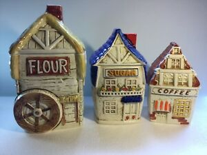 Vintage-3-Piece-Canister-Set-Sears-Roebuck-1981-Village-Rare-Mill-House