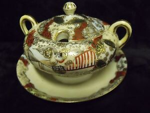 ANTIQUE DETAILED GILT HAND PAINTED FAMILLE ROSE SIGNED CHINESE SUGAR BOWL