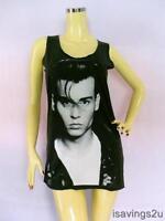JOHNNY DEPP Tank Top, Rock ART Movie Star BLACK Cotton Singlet, T-shirt Mini New