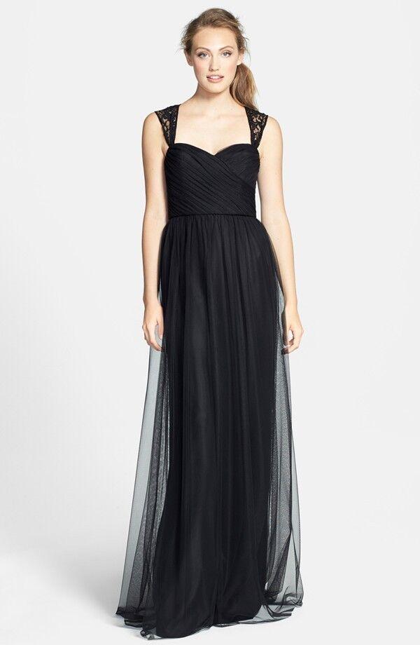 Amsale Lace Detail Tulle Gown Dress schwarz Größe 6