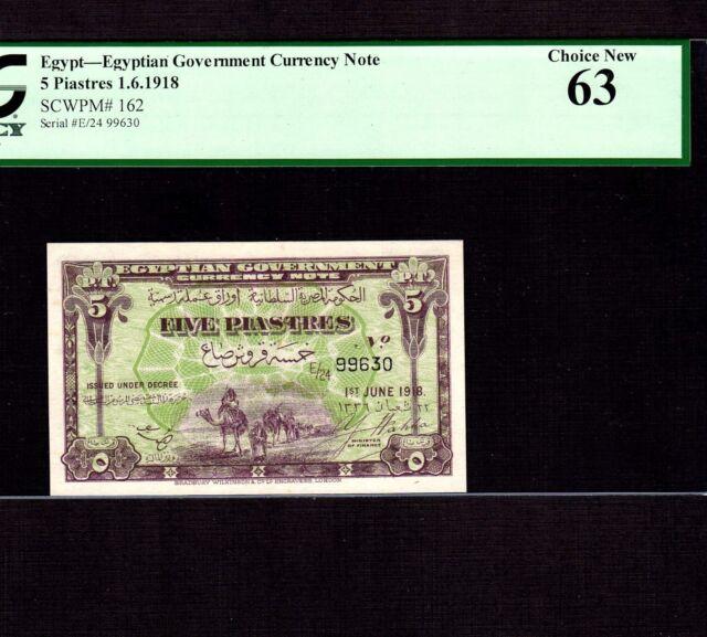 Egypt 5 Piastres 1918 P-162 * PCGS Unc 63 * Camels *