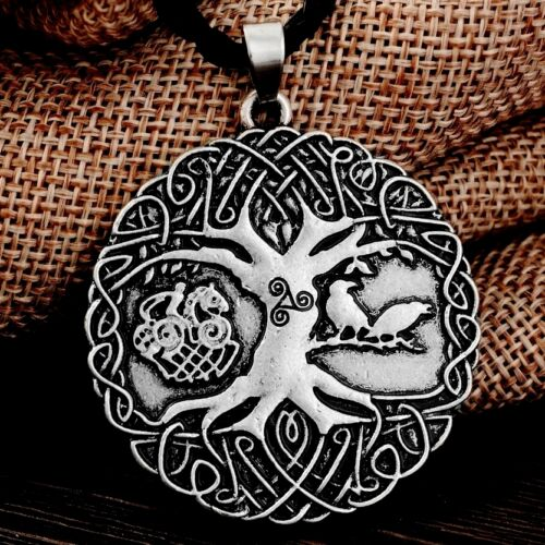 Antique Silver Tone Norse Tree Of Life Braided Cord Pendant Necklace