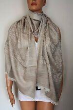 GUCCI Strickschal mit GG Jacquard-Muster 70x200 cm Wolle/Seide beige NEU 165903