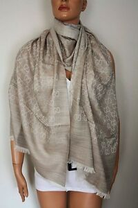 1c3718eee099 Gucci Knit Scarf with Gg Jacquard Pattern 27 5 8x78 11 16in Wool ...
