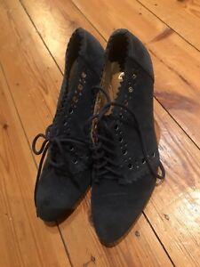 Softwear petrolio 5 scarpe blu 4 camoscio taglia Up Ladies in Clarks Lace tacco con pqv55w