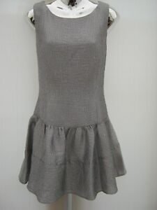 Warehouse-Sleeveless-Dropped-Waist-Silver-Glitter-Party-Occasion-Dress-Size-14