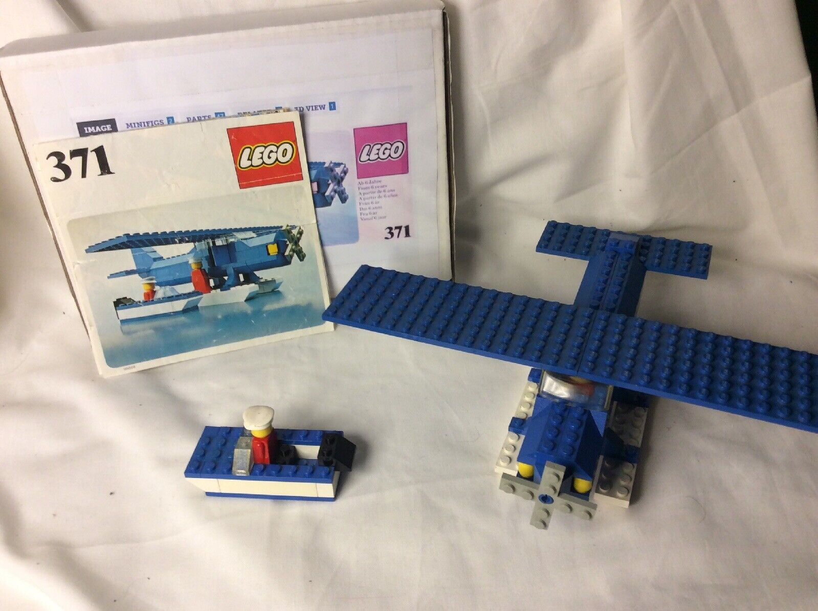 Very Rare 1977 Lego Model Kit No.371 Sea Plane And Boat