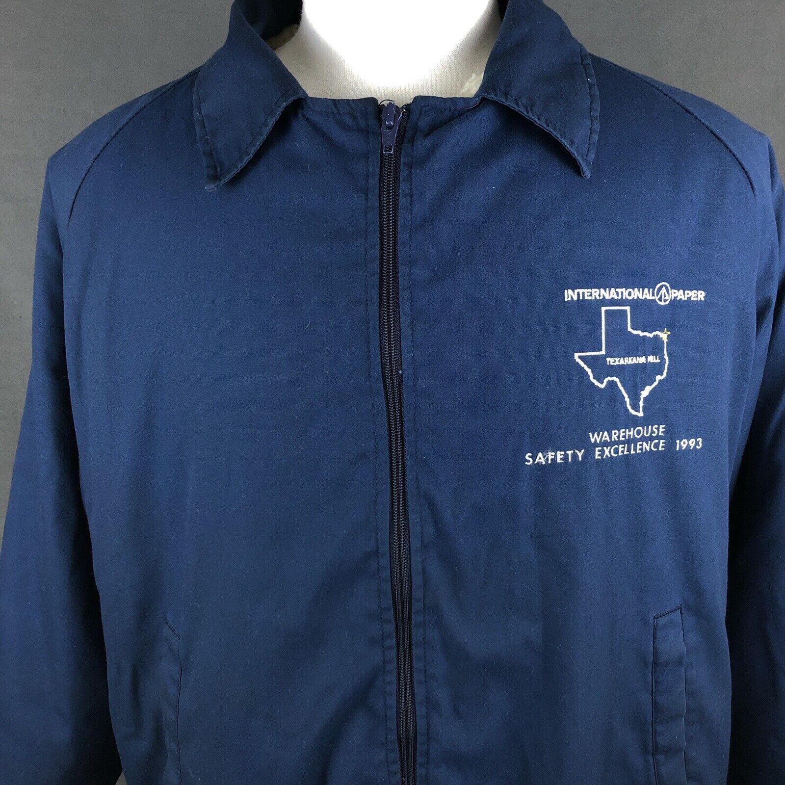 International Paper Texas Employee Jacket Large Sherpa Lined Coat Vintage 1993