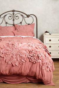 Anthropologie Georgina Full Duvet Cover Dusty Pastel Rose