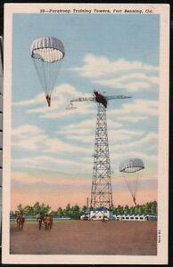 FORT-BENNING-GA-Paratroop-Training-Tower-Vtg-Postcard-Old-Military-Paratrooper