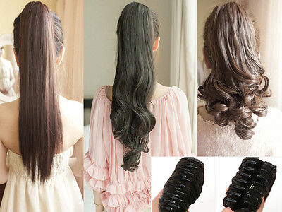 Claw Clip In Ponytail Extension Hair Extensions as human extra long pony tail