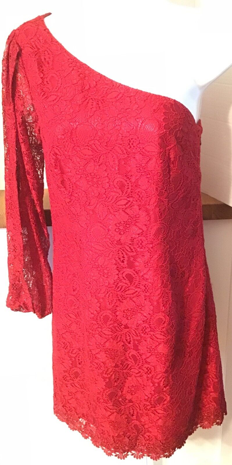 Laundry by Shelli Segal rot Lace Cocktail Party Dress Größe 0 One Sleeve damen