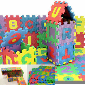 Alphabet & Numerals Mini Puzzle Baby Kids Play Educational Toy Mats Set