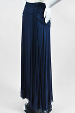 Ralph Lauren Purple Label NWT $2995 Navy Silk Ruched Full Maxi Skirt SZ 8