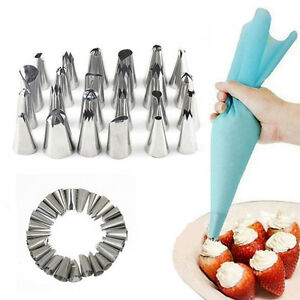 24-Icing-Nozzles-Set-Piping-Bag-Stainless-Steel-Cake-Decorating-Pastry-Tool-keku