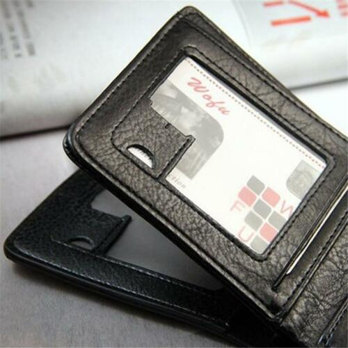 Men Bifold Wallet ID Cards Holder Coin Pocket Bag Button Slim Leather Purse 6A