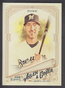 Topps-Allen-amp-Ginter-2018-Base-246-Travis-Shaw-Milwaukee-Brewers