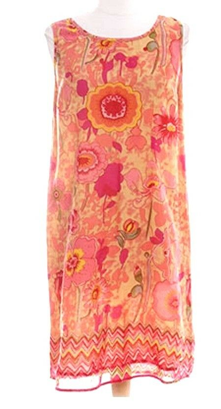 QVC France Cotton Voile Sundress Floral Sleeveless Tank Dress Beach Holiday 14