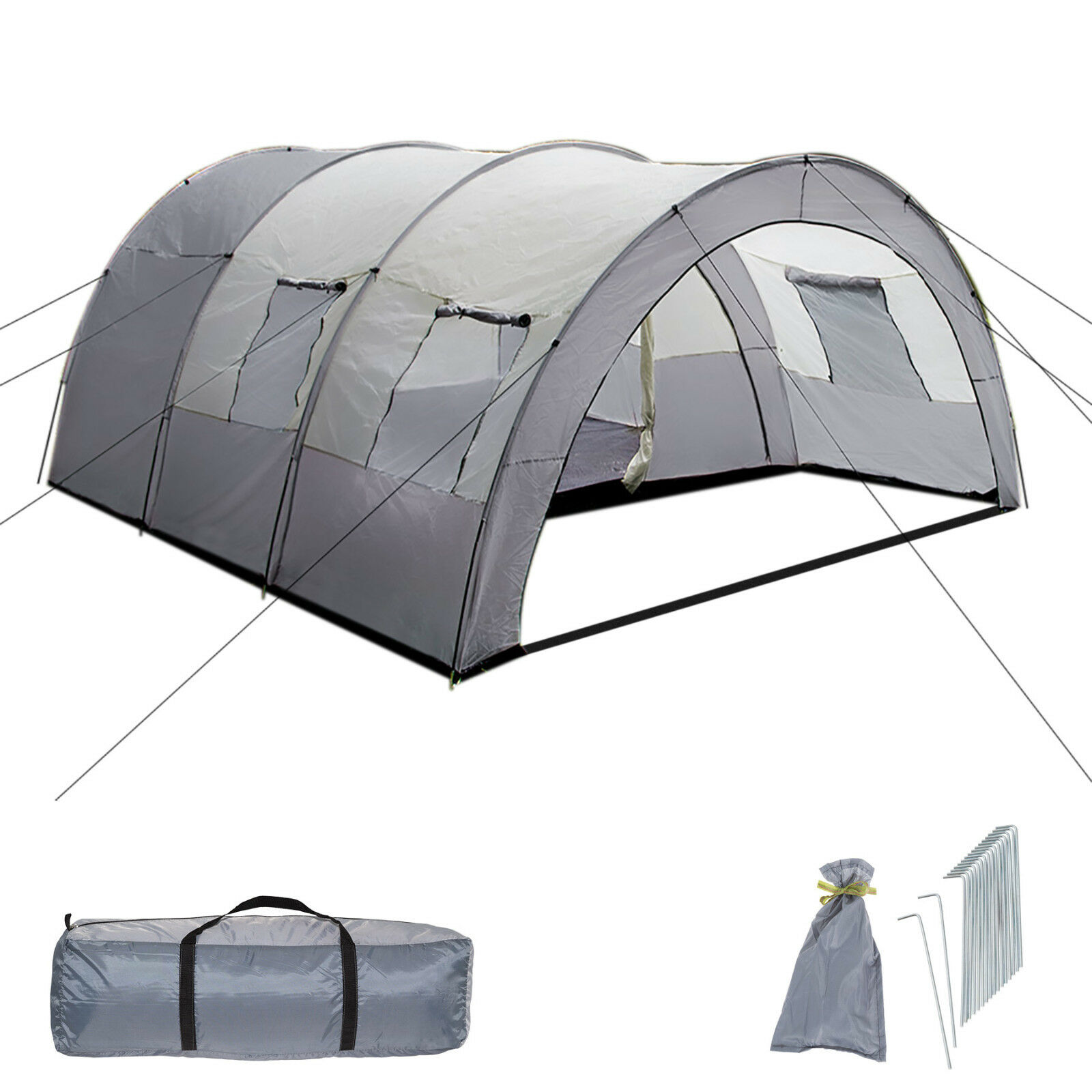 XXL Tenda Campeggio 4  6 Persone Posti Tendone Camping Famiglia Grigio
