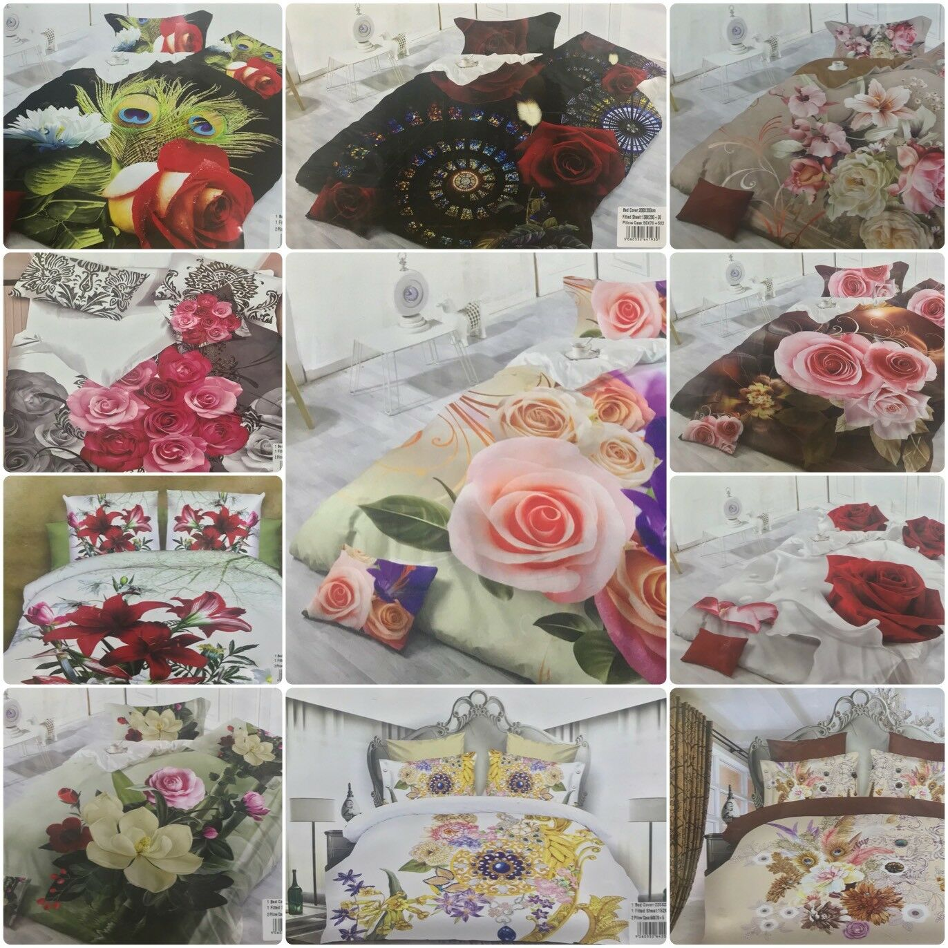 10x Job Lot Wholesale King Duvet Cover Floral 3D Full bed Sets & Fitted Sheet
