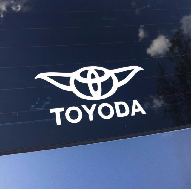 "3/"" wide Toyota Toyoda Yoda Star Wars Vinyl Die Cut Decal Car Bumper Sticker 2"
