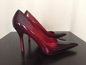 Aldo Red Lacquer Leather Stiletto Shoes Heels, Size 38 Euro, 8 Us ...
