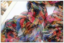 Brand New Handmade Oblong 100% Silk Scarf Shawl Wrap Hijab