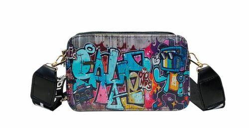 Femmes Sac à Main Street Graffiti PU Sac Messenger Cross Body Zipper Sac d/'épaule