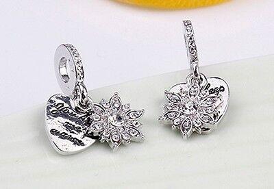 Silver Plated snowflake love heart you keep me warm Charm Fits European bracelet