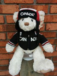NWT-Tags-2010-Canada-Olympic-Plush-Stuffed-Teddy-Bear-HBC-Hudson-039-s-Bay-QUALITY