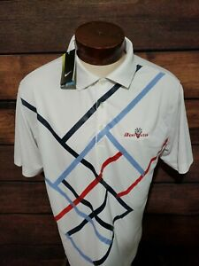 Nike-Dri-Fit-Mens-Large-Red-White-Blue-Brand-New-Short-Sleeve-Golf-Polo-Shirt