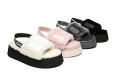 UGG Fluffy Slides Women Sandals Poppin High Platform Australian Sheepskin Wool