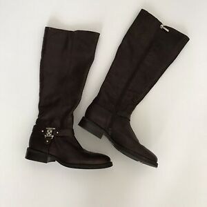 Vince-Camuto-Women-7-5-M-Farren-Leather-Riding-Boots-Knee-High-Zip-Harness-Brown