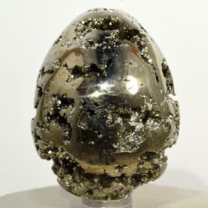 2-4-034-Golden-Pyrite-Egg-Sparkling-Natural-Druzy-Crystal-Polished-Mineral-Peru
