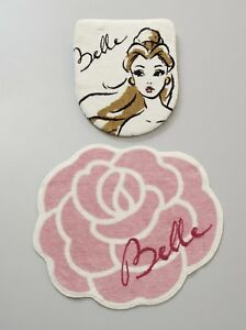 Disney-Beauty-and-the-Beast-Belle-toilet-lid-cover-amp-mat-2-piece-set-Japan