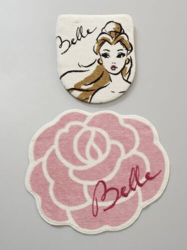 Disney Beauty and the Beast Belle toilet lid cover /& mat 2 piece set Japan