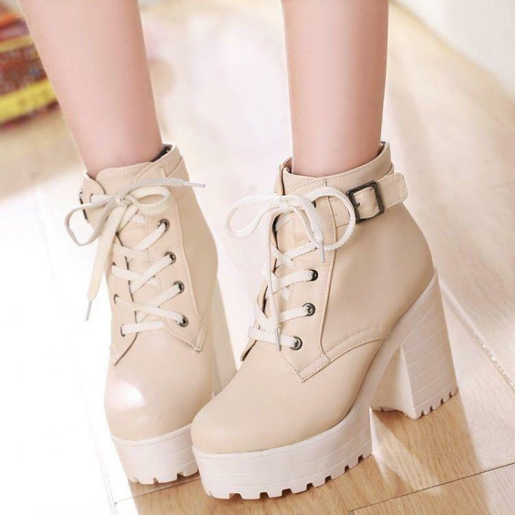 Punk goth creeper Women's chunky heel platform lace-up ankle boots shoes 8 9 10