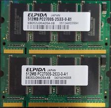 1GB ( 2X 512MB) DDR, 333 PC2700 Laptop Memory Elpida