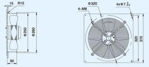Plate Axial Extractor Ventilation Fan 250mm 730M3//H Free External Wall Grille