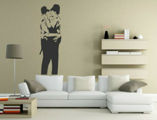stimulating Banksy style Kissing Cops decor original wall stickers NEW Puzzling