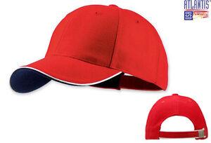 d4944d2df50 Caricamento dell immagine in corso ATLANTIS-cappello-baseball-PILOT-rosso -PIPING-navy-cappellino-